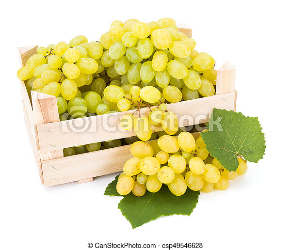 White table grapes (Vitis) in wooden crate - csp49546628