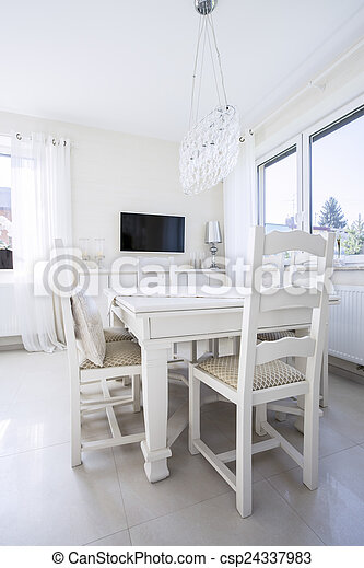 White table in dining room - csp24337983