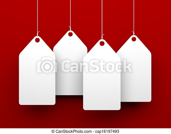 White tags on red background - csp16197493