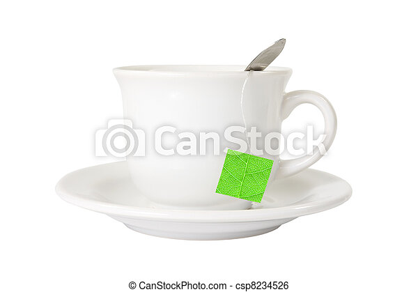 white tea cup with green leaf label - csp8234526
