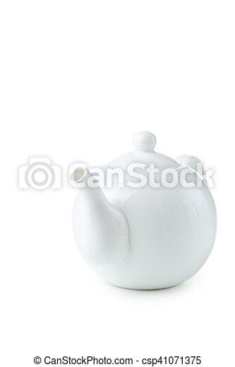 White teapot isolated on white - csp41071375