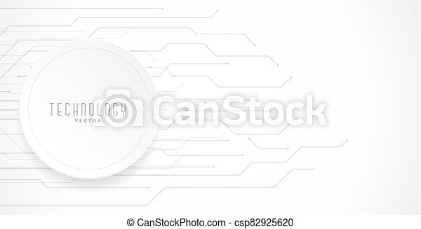 white technology circuit lines diagram background design - csp82925620