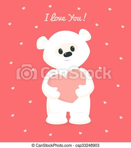White teddy i love you card vector greeting card with white teddy white teddy i love you card csp33248903 altavistaventures Images