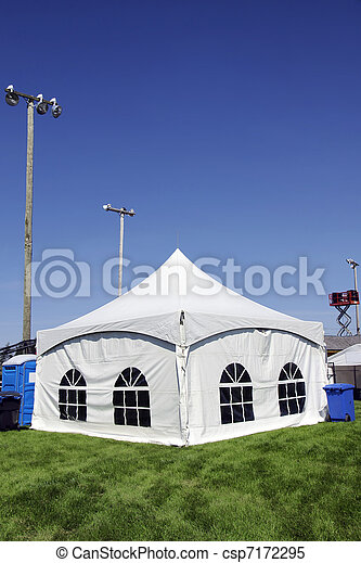 White tent on grass vertical - csp7172295
