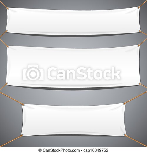 White Textile Banners. Vector Advertising Template - csp16049752