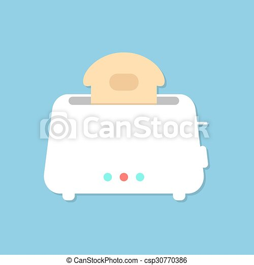 white toaster with shadow isolated on blue background - csp30770386