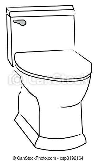 White Toilet With Silver Flush Handle Stock Illustration