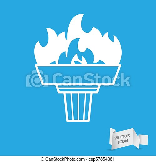 white torch icon with flame on a blue background - csp57854381