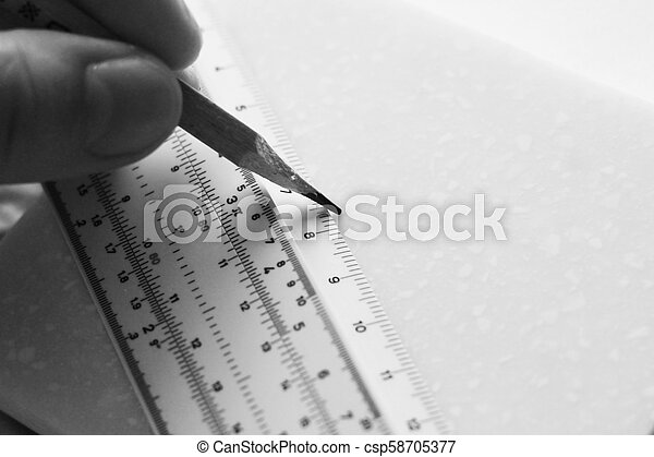 White transparent ruler, school tool for geometry - csp58705377