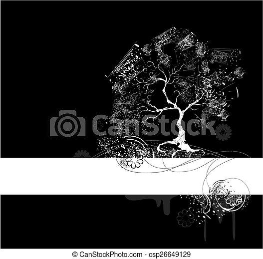 White Tree On Black
