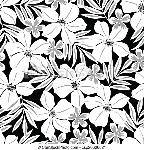 White tropical flower on a black background seamless pattern mightylinksfo