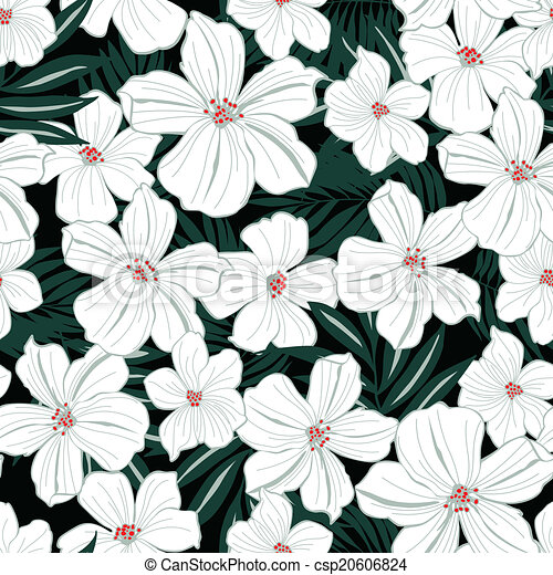 White tropical flowers seamless pattern mightylinksfo