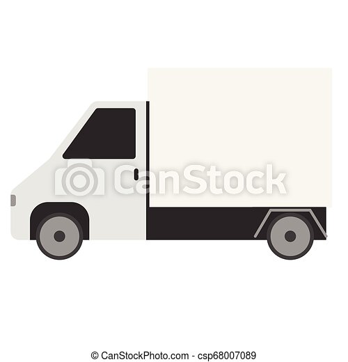White truck flat illustration on white - csp68007089