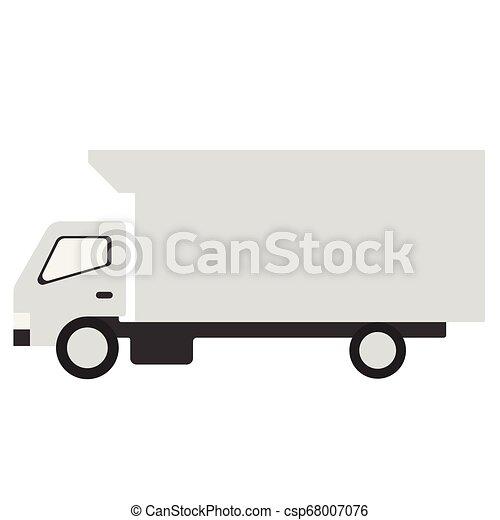 White truck flat illustration on white - csp68007076