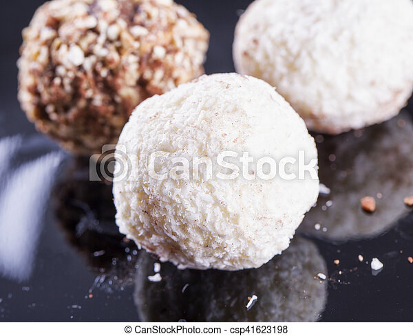 White truffle over black background - csp41623198