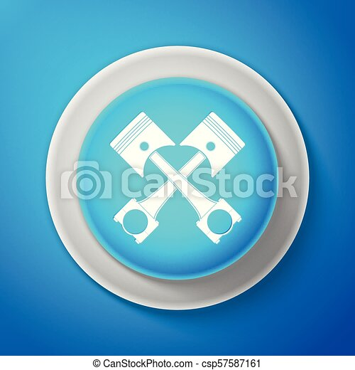 White Two crossed engine pistons icon isolated on blue background. Circle blue button with white line. Vector Illustration - csp57587161