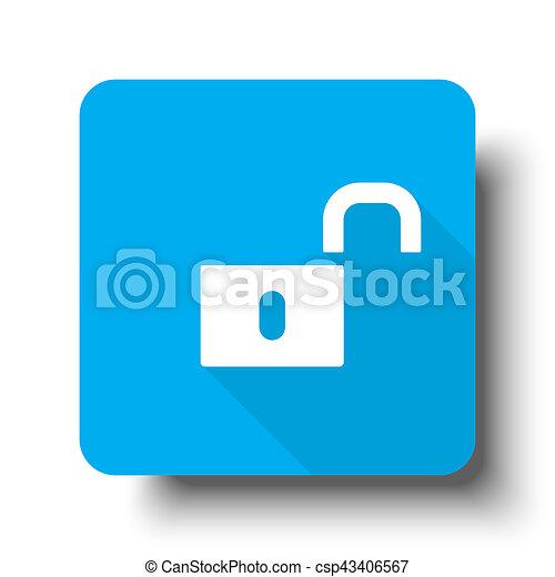 White Unlock icon on blue web button - csp43406567