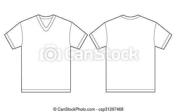 White v-neck shirt design template for men. Vector... clip art ...