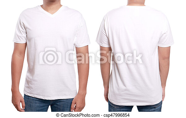 White V Neck Shirt Design Template White T Shirt Mock Up Front And