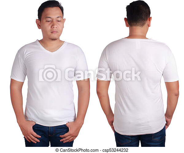 White V Neck Shirt Mockup Template Blank Tshirt Mock Up Front