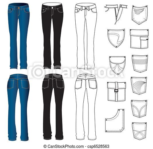 white., vettore, jeans, vestiti - csp6528563