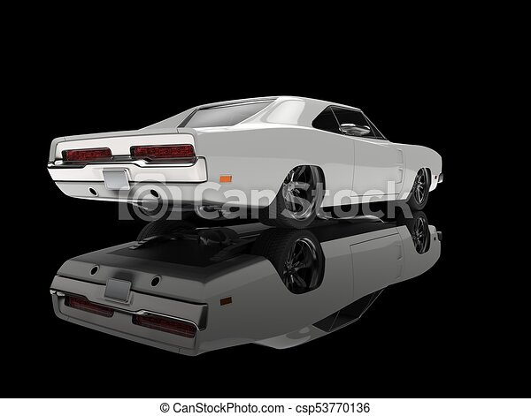 White Vintage American Muscle Car In Black Showroom Tail View
