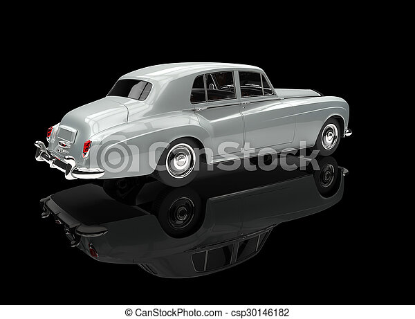 White Vintage Car On Black - csp30146182