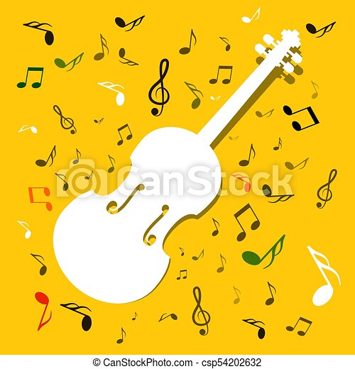 White Violins with Notes on Yellow Background. Vector Music Background. - csp54202632