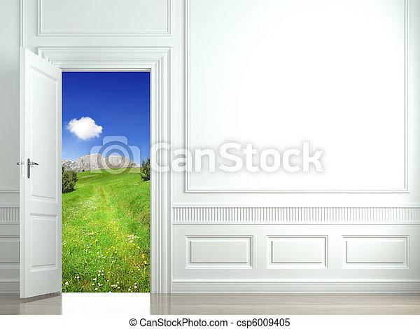 white wall with open door - csp6009405