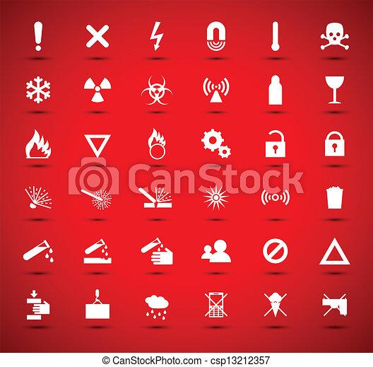 White warning and danger signs - csp13212357