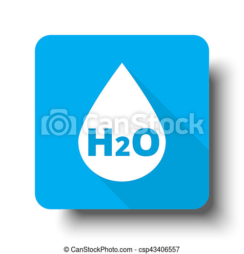 White Water icon on blue web button - csp43406557