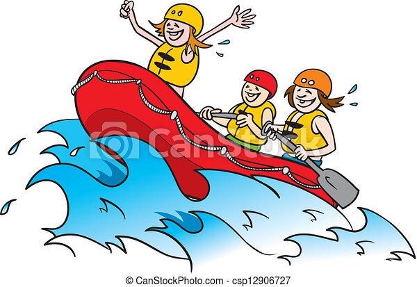 White Water Rafting 2 Cartoon Illustration Of Three Happy Vector
