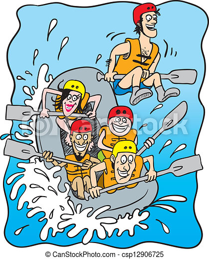 White Water Rafting Cartoon Illustration Of Five Happy People