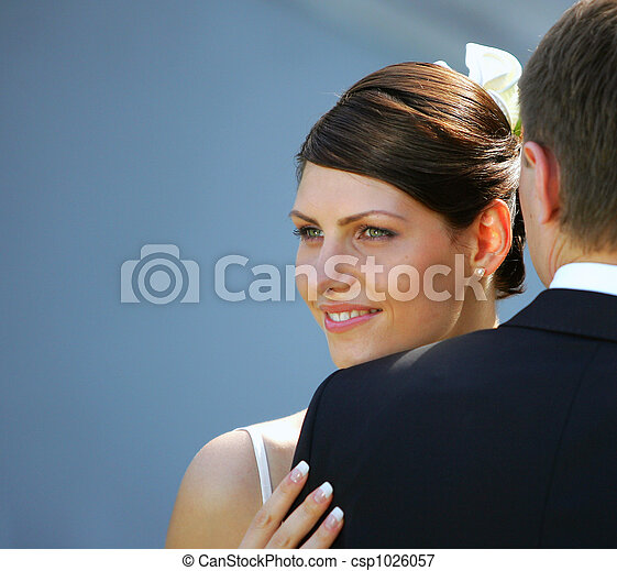 White wedding bride and groom - csp1026057