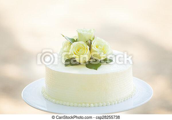 White Wedding Cake  - csp28255738