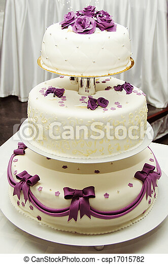 White wedding cake with purple flower detail white wedding cake with purple flower detail csp17015782 mightylinksfo