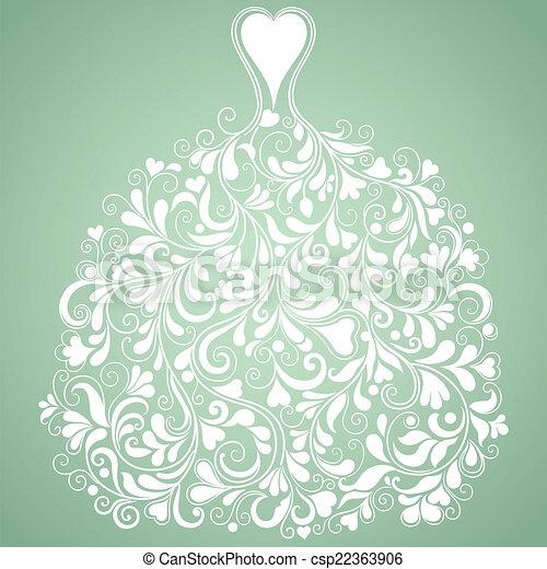 White wedding dress vintage vector silhouette - csp22363906