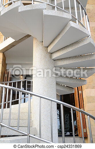 White Winder Stairs With Stainless Steel Handrail   Csp24331869