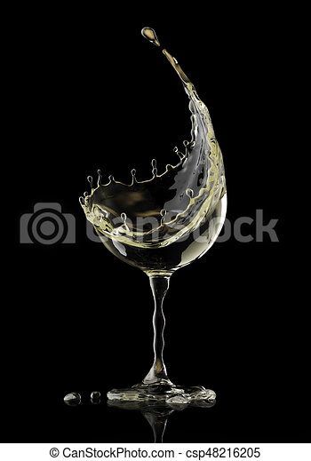 White wine glass on black background csp48216205