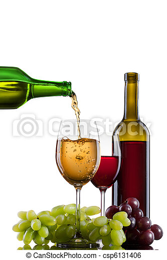 White wine pouring into glass with grape and bottles isolated - csp6131406