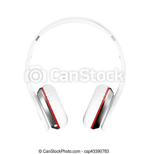 White wireless headphones isolated white background 3d illustration render front - csp43390783