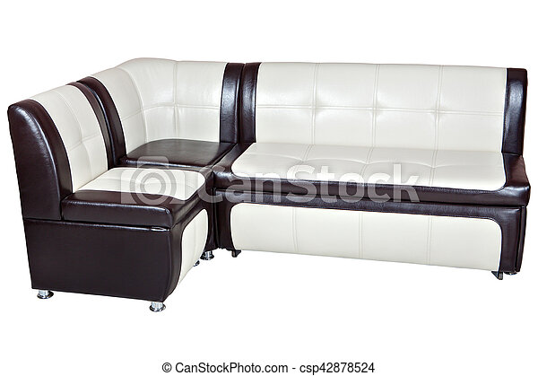 White with brown leather corner couch bed with storage