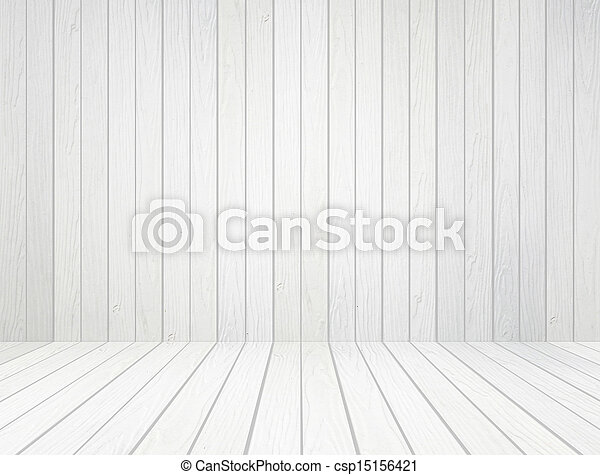 white wood wall and wood floor background - csp15156421
