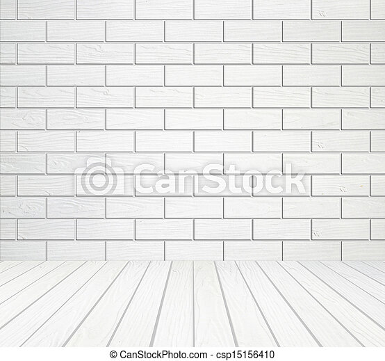 white wood floor background. White Wood Wall (Block Style) And Floor Background Stock Photo