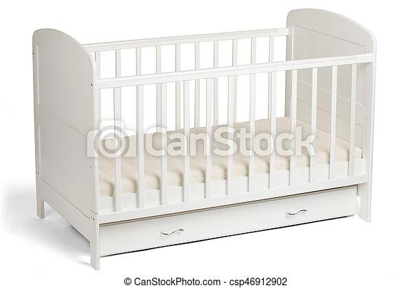 White wooden baby crib - csp46912902