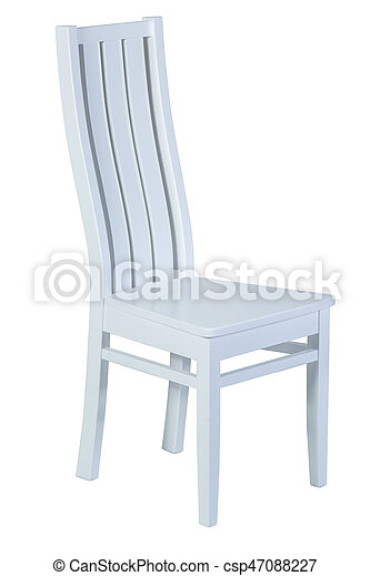 White wooden chair isolated on white background - csp47088227