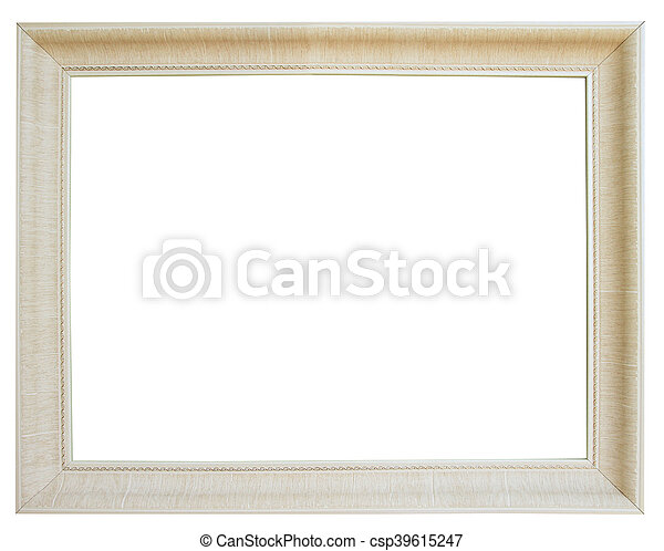 White wooden frame isolated on white background - csp39615247