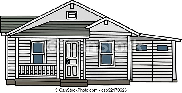 Charming White Wooden House   Csp32470626