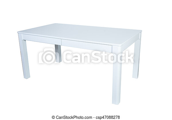 White wooden table isolated on white background - csp47088278