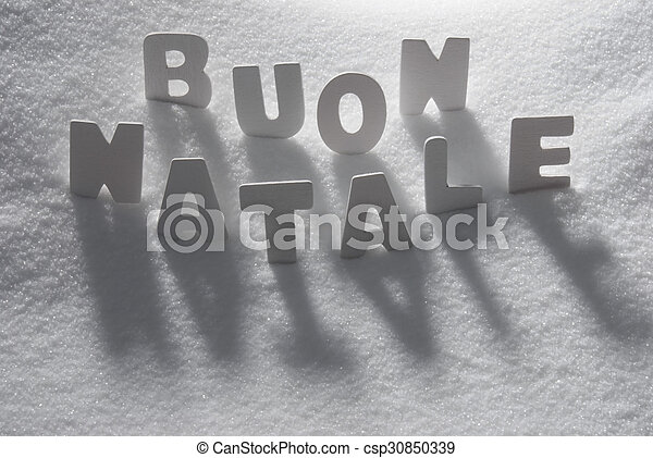 white word buon natale mean merry christmas on snow csp30850339 - What Does The Word Christmas Mean